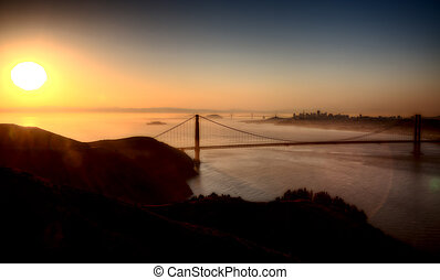 San Fransisco Skyline sunrise from high viewpoint