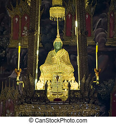 Emerald Buddha - The Emerald Buddha in the temple of Wat...