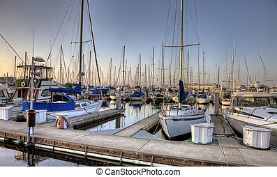 Marina Monterey California evening picture reflection boats