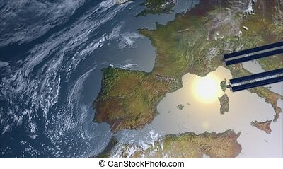 Spacestation flying over Europe - Satellite Spacestation...