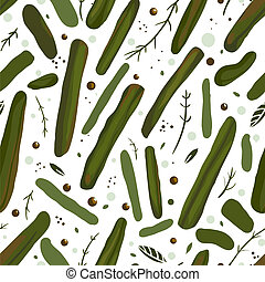 Green Canned Spicy Beans Seamless Pattern - Vector EPS8...