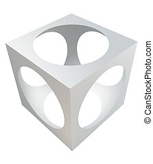 3D design element – cube with cutout sphere.
