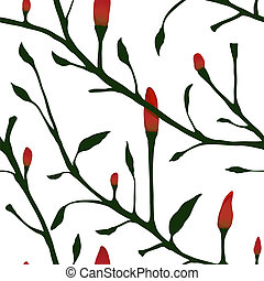 Red Chilli Pepper Plant Seamless Pattern - Vector EPS8 hot...