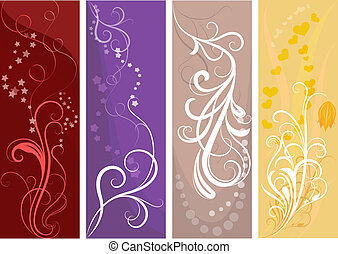 Color vertical vector banners with floral design.