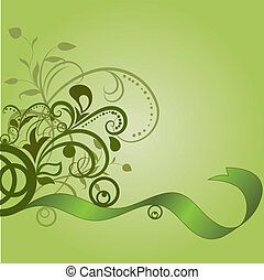 Green floral background with wavy ribbon.