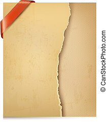 Vintage background with ripped old paper. Vector...