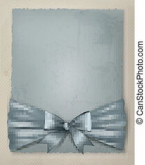 Holiday background with gift bow and ribbon on old paper. Vector illustration.