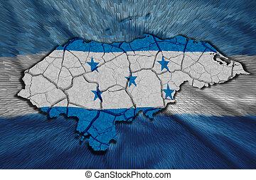 Honduran Map - Map of Honduras in National flag colors