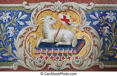 Lamb of God Agnus Dei mosaic in the Martini church in...