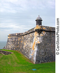 Fort El Morro - Wall and guard tower of Fort El Morro in Old...