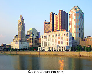 Columbus, Ohio - View of Columbus, Ohio skyline and Scioto...