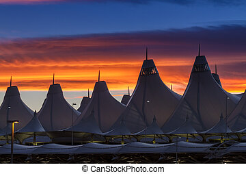 Denver International Airport - Dramatic sunset over Denver...