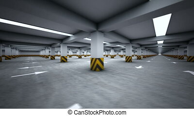 Parking garage underground, industrial interior rotating...