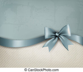 Holiday background with old_paper and gift bow and ribbon....