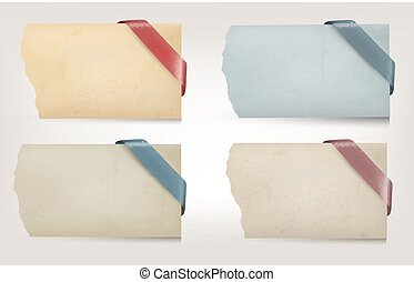 Collection of old paper banners with ribbons. Vector illustration.