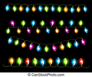 Strings of holiday lights on black background Vector...