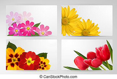 Set of banners with different colorful flower. Vector...