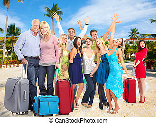 Happy people in tropical ressort Holiday vacation background...