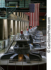 Hoover Dam Generators - View of hydroelectric power...