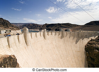 Hoover Dam - Wide angle view of Hoover Dam on the...