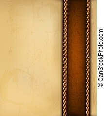 Vintage background with old paper and brown leather. Vector illustration.