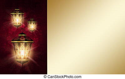 lantern over dark eid al fitr background - shiny lantern...
