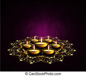 oil lamps with place for diwali greetings over dark...