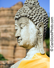 Thai Buddha - Stone Buddha at Wat Yai Chai Mongkol in...