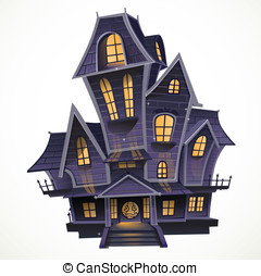Happy Halloween cozy haunted house isolatd on a white...
