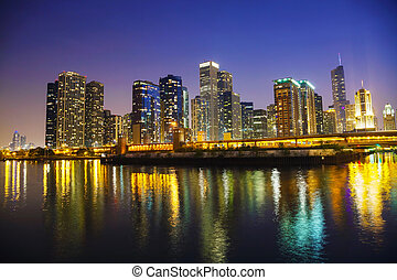 Chicago downtown cityscape panorama in the night