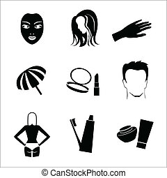 Cosmetic Icon Set - Black silhouette cosmetic icon set