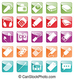 Phone and Computer Accessories Icon Set - Smart devices for...