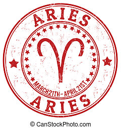 Aries zodiac grunge stamp - Aries zodiac astrology grunge...