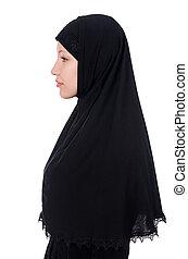 femme, musulman, burqa, isolé, blanc