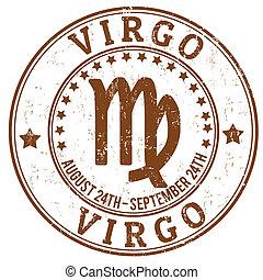 Virgo, zodíaco, Grunge, estampilla