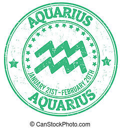 Aquarius zodiac grunge stamp - Aquarius zodiac astrology...