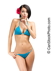 Woman wearing bikini silence gestures - Portrait of woman...
