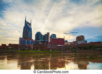 Downtown Nashville cityscape in the evening - Downtown...