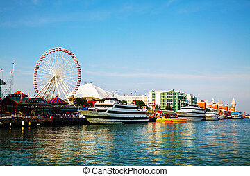 Navy Pier in Chicago in the morning - CHICAGO - MAY 19: Navy...