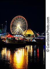 Navy Pier in Chicago at night time - CHICAGO - MAY 18: Navy...