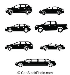 Cars silhouettes vector collection - Modern cars silhouettes...