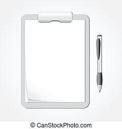 Vector Clipboard with Sheets of Paper and a Pen - Vector...