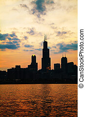 Chicago downtown cityscape at sunset