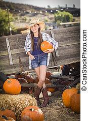 Preteen Girl Portrait at the Pumpkin Patch - Preteen Girl...