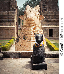 Statue of Nandi Bull at Hindu Temple India - Statue of Nandi...