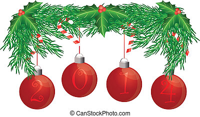 Christmas Tree Garland with 2014 Ornaments Holly Berries Leaves and Candy Cane Isolated on White Background Illustration