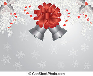 Garland with Silver Bells Illustration - Christmas Garland...