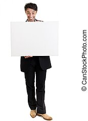 Persuasive man with a big smile and a blank sign -...