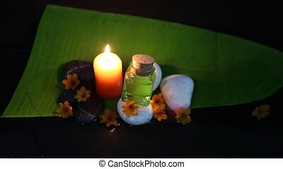 Spa Massage Set - Dim light spa massage set with zen stones,...