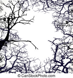 Frame from silhouettes of bare branches of trees